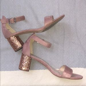 Hot Kiss Sparkle Pink Stack Heeled Sandals - 9